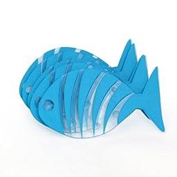 Spirella Transparent Striped Fish PVC Non-Slip Bathtub Mats, Cute Cartoon Non-Slip Bathtub Stickers, Blue