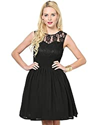 Besiva Sleeveless Cancan Black Dress