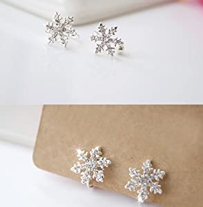 tiny clear snowflake stud earrings for non pierced