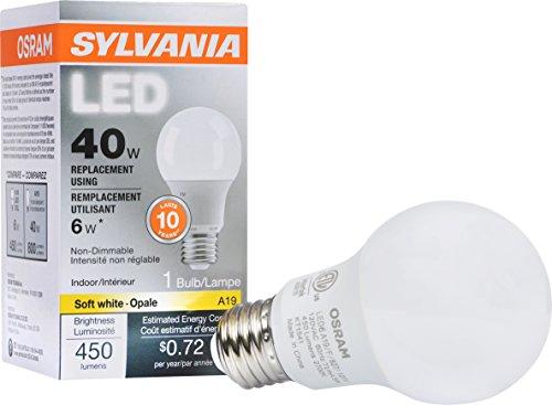 SYLVANIA, 40W Equivalent, LED Light Bulb, A19 Lamp, 1 Pack, Soft White, Energy Saving & Longer Life, Value Line, Medium Base, Efficient 6W, 2700K (Osram Led Bulb compare prices)