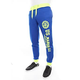 HP508-BLRNYEL - Bas de Jogging - Us Marshall - HP508 - fashion - unisexe - Bleu Royal / Jaune fluo - Bleu, XS