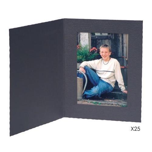 """Black Portrait Folder: Plain Border For 5"""" X 7"""" Horizontal Prints"""