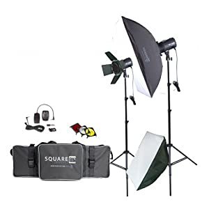 Square Perfect 1002 Sp160 Variable Power Professional Studio Flash Set Photography Studio Kit with Photo Lighting Strobes Stands