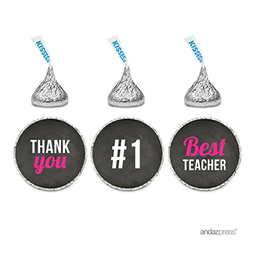 Andaz Press Chocolate Drop Labels Trio, Fits Hershey's Kisses, Teacher's Appreciation Thank You 2, 216-Pack, For Back to School Graduation Elementary School Teacher Gift
