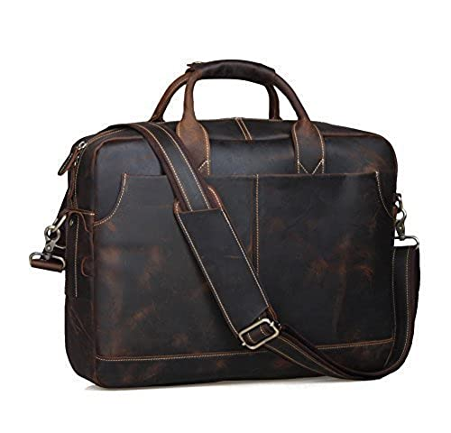 "13. Texbo Genuine Leather Men's Briefcase Messenger Tote Bag Fit 17"" Laptop"