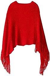 Amy Byer Big Girls\' Sweater Poncho, Red, Medium