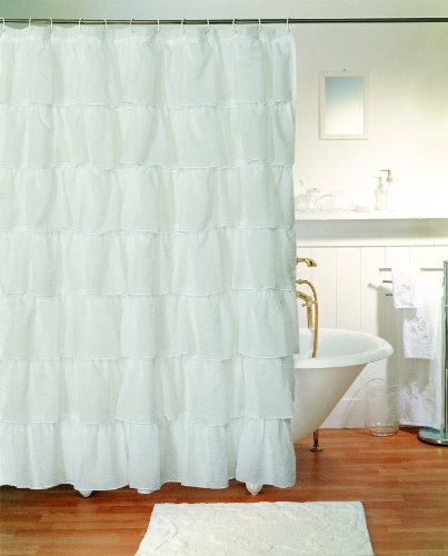 Gypsy Ruffled Shower Curtain White 70