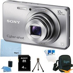 Sony Cyber-shot DSC-W690 16.1 MP Digital Camera with 10x Optical Zoom and 3.0-inch LCD (Silver)BUNDLE with Sony 4GB Card, Case, Mini Tripod, LCD Screen Protectors, Lens Cleaning Kit, Microfiber Cleaning Cloth