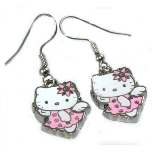 Adorable Flying Hello Kitty Dangle Earrings SO CUTE