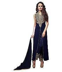 Sayshopp Fashion Women's Georgette Semi Stitched Dress Material (HFSS-57_Blue)
