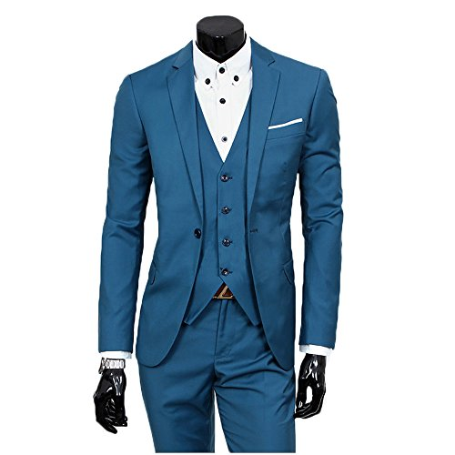 Men's Slim Fit Peak Lapel Suit Blazer Jacket Tux Vest & Trousers 3-piece Suit Set,Aqua blue,Medium (Men Blue Suit compare prices)