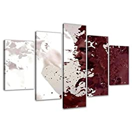 Visario 5525 Bilder auf Leinwand Bild 160 x 80 cm Abstrakt fünfteilig