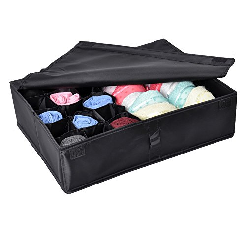 Tune Up 2 in 1 Foldable Drawer Divider,Underwear Socks Ties Bra Drawer Organizer Storage Box (Black) (Ties Storage compare prices)