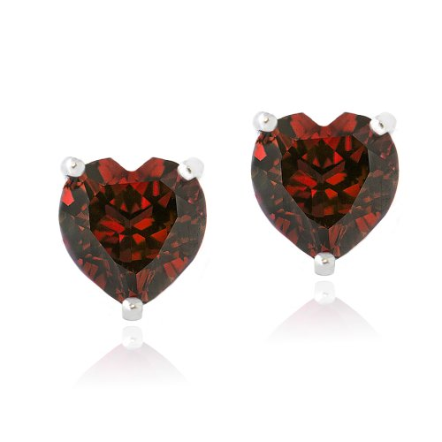 Sterling Silver 3ct Created Ruby Heart Stud Earrings, 7mm