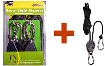 """Grow Light Hangers - 1/8"""" Heavy Duty Triplet, THREE (3) Ratchets per Pack , METAL Internal Gears, Completely Rust/Cold/Heat Resistant, w/ Strong Composite Case, 7' Rope - For Hydroponic Grow Light/Reflector Adjustable Hanger, Hoist - Protect Your Investme"""