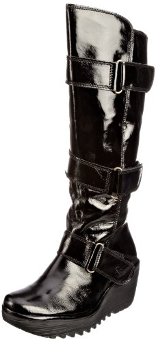 Fly London Women's Yeven Leather Patent Black Platforms Boots P500233006 5 UK