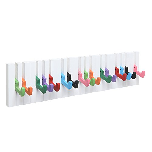 Decorative Multicolor Piano Design Wood Wall Mounted Coat Hooks / 16 Hook Storage Utility Rack - MyGift®