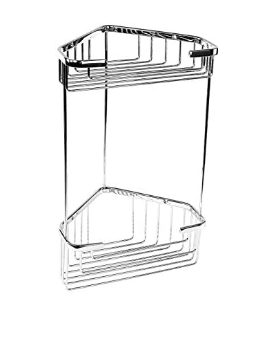 Nameek's Wire Corner Shelf With 2 Baskets, Chrome