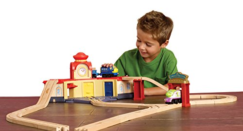 Chuggington 32 piece Roundhouse Wooden Train Set with Koko, Brewster and Vee Engines - Fully Compatible with all Thomas the Tank Engine Sets