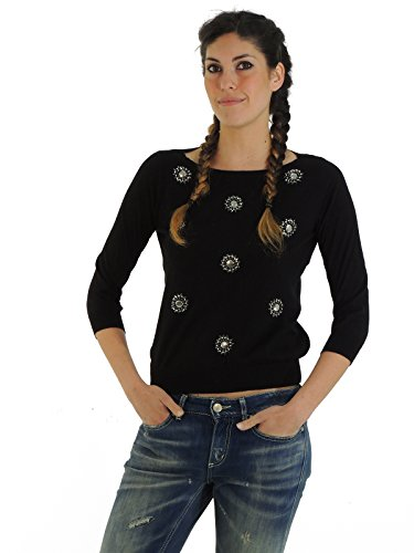 Liu Jo maglia donna maglione girocollo con applicazioni gioiello P15005MA995 (42, NERO)