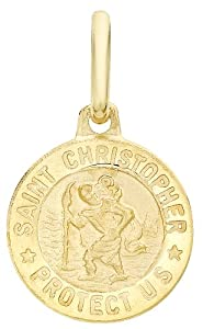 Carissima 9ct Yellow Gold St Christopher Medal Pendant