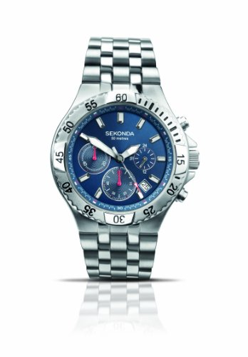 Sekonda 3310 Gents Stainless Steel Chronograph Blue Dial Sports Watch