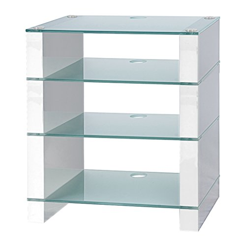 Supporto per HiFi, Supporto per porta, AV Audio Hi-Fi. Bianco Lucido Con Quattro tre ripiani vetro acidato