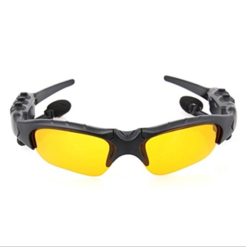 Bluetooth Sunglasses Headset, AnsTOP Wireless Bluetooth Stereo Sports Sunglass Hand-Free Phone Answer/Call Music Function Wth Smarthpone For Riding Driving Fishing Running Outdoor Activities(Yellow)