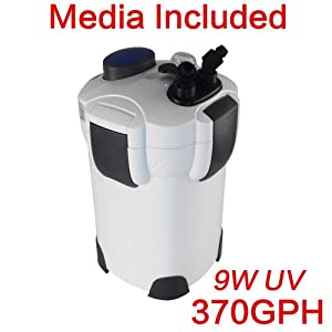 Pingkay Free Media 4-stage External Canister Filter with 9-watt Uv Sterilizer for Aquarium, 370 GPH