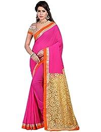 Saree Sagar Women's Net Brasso & Georgette Saree With Blouse Piece (TM-561_Pink)