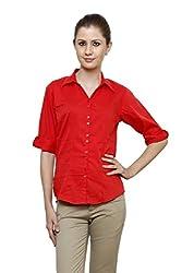 Zx3 Women's Strech Formal & Casual Shirt(Shirt_1023_XL_Red)