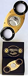 Cuban Crafters CC08SS Gold and Titanium Wholesale Cigar Cutter - Self Sharpening Stainless Steel Double Blades - O Round Design