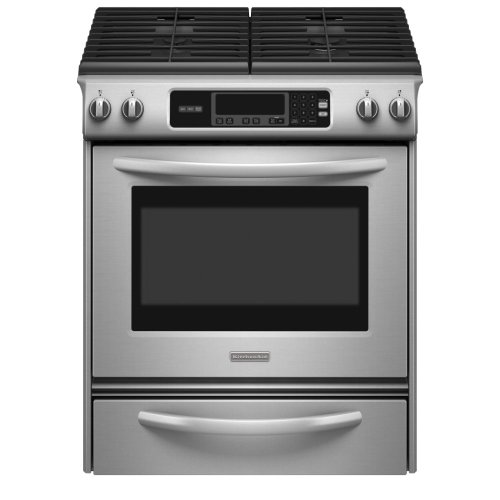 KitchenAid Architect Series II : KGSK901SSS 30 Slide-In Gas Range, 4 Sealed Burners, Self-Clean