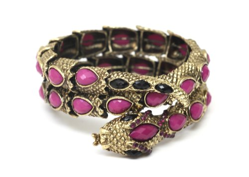 Coiled Serpent Cuff Gold Tone Purple Crystal Snake Bracelet BC14 Animal Statement Bangle Vintage Fashion Jewelry