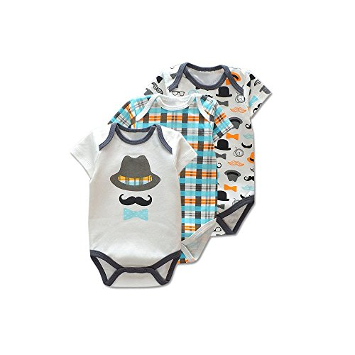 KooKoo House Baby Boys' 3-pack Bodysuits (6 Months, Hats & Mustaches)