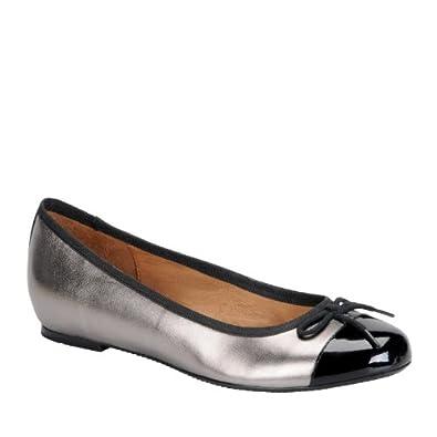 Sofft Women's Sophie Steel/Black Foil Kid Skin/Patent Leather Flat 7.5 M (B)