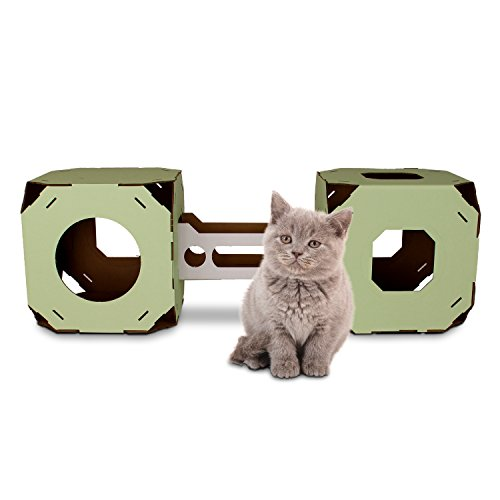 Catty Stacks Modular Cat House Cubes with Bridge, 2 cubes, Made
