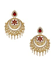 Voylla Stylish Gold Toned Dangle Earrings Embellished With Pearl And Red Color Stones
