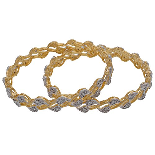Diamond Chandrika Pearls' American Diamond Gold Plated Leaf Bangle For Women (Yellow)
