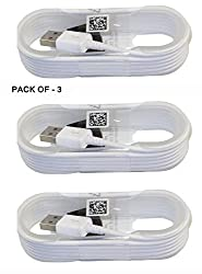 SBA BRANDED ORIGINAL 100% GENUINE QUALITY Pack of Three ( 3 ) 1.5 Meter White High Quality round shape Micro USB Data Sync Charging Cables for Samsung Galaxy S5 CDMA and many other android smart phones. Non-Retail Packaging - White Color (Pack of Three Cables )
