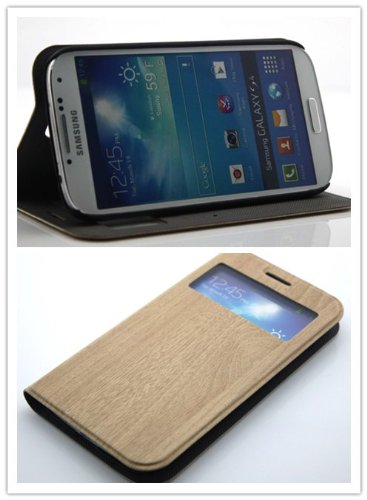 Big Dragonfly High Quality Classic Wood Print Folio Leather Case And Flip Cover For Samsung Galaxy S4 Siv I9500 With Built-In Stand & Cut Out & Card Slot Eco-Friendly Package Khaki front-997227