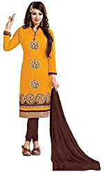 Shree Hans Creation Yellow & Brown Style Dress Metiral