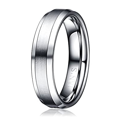 TAN'S 6mm Men's Tungsten Ring Wedding Band in Comfort Fit Brushed Matte Finish/Beveled Polished Edge