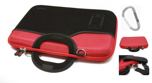 Red Laptop Bag for 15.6 inch Asus N53SV-A2 Notebook + An Ekatomi Hook.