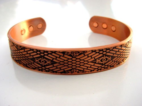 MAGNETIC SOLID COPPER THERAPY ORNATE CROSS HATCH PATTERN BRACELET BANGLE UNISEX