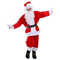 Ohuhu Adult Costume Flannel Santa Suit