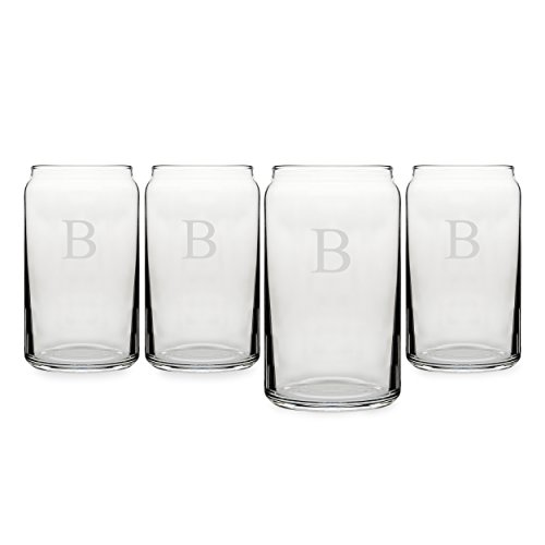 Cathy's Concepts Personalized Craft Beer Can Glasses, Set of 4, Letter B (Monogram Beer Glasses compare prices)