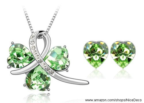 Nicedeco Je-Sw-Tz053-Green,Swarovski Elements Austrian Crystal Jewelry Sets,I Met Happiness,Necklace And Earring(2-Piece Set),Elegant Style And Exquisite Craftsmanship