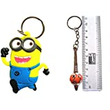 Cute Soft Rubber Double Sided Keychain With Metal Keychain - Set Of 2