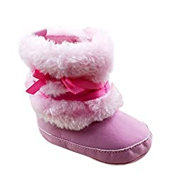 Baby Infant Bowknot Boots Soft Crib Shoes Toddler Warm Fleece Prewalker 0-18M (Small(0-6 Months), Pink)